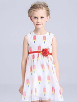 Girl's Striped Dress,Cotton / Rayon Summer Red / Yellow