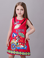 Girl's Casual/Daily Print DressCotton / Polyester Summer / Spring Red
