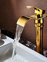 Waterfall Basin Faucet Golden Finish Vessel Sink Tap Hot&Cold Mixer Faucet Luxury