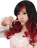 onda del cuerpo de 24 pulgadas de largo mujeres pelo sintético negro peluca cosplay ombre sin tapa roja