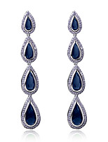 New fashion Classic Drop shape Earring Platinum plated 3 colors Cubic zircon Drop Earrings for women