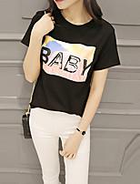 Women's Print White / Black T-shirt,Round Neck Short Sleeve