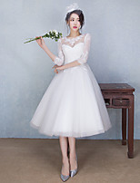 A-line Wedding Dress Tea-length Jewel Lace / Tulle with Appliques / Beading