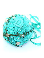 Bouquets de Noiva Redondo Rosas Buquês Casamento Azul Enfeite / Espuma / Metal / Strass 9.06