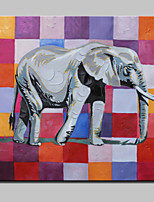 Lager Hand Painted Modern Elephant Oil Painting On Canvas Wall Art Picture For Home Whit Frame Ready To Hang 100x100cm