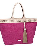 DAVIDJONES/Women PU / Canvas Shopper Shoulder Bag / Tote / Cross Body Bag-Blue / Red / Camel