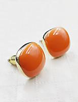 Simple Style Orange Red Oval Lady Earrings