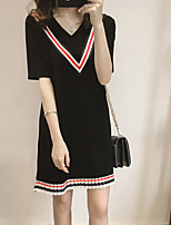 Women's Holiday / Plus Size Street chic Loose Dress,Striped V Neck Mini ½ Length Sleeve Pink / White / Black Cotton Spring