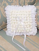 White Ring Pillow Satin Beach Theme / Vegas Theme / Classic Theme With Ribbons(30*28*26cm)