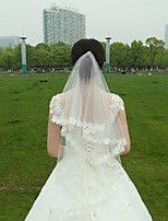 Wedding Veil Two-tier Fingertip Veils Lace Applique Edge Tulle White White