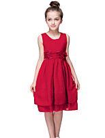 Kids 2016 Fashion Summer Girls Red/Purple Casual/Party Dress Birthday Gift/Princess Chiffon Sleeveless Knee Length Dress