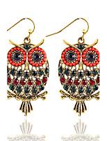 Bohemian Beads Popular New Color Rhinestones Hollow Owl Earrings