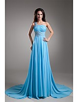 Formal Evening Dress A-line One Shoulder Court Train Chiffon with Beading / Pleats
