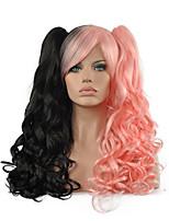 lolita peluca rizada inspirado por gradiente de negro y rosa doble cola de caballo lindo de la princesa 70cm