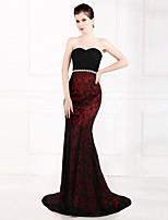 Formal Evening Dress Trumpet / Mermaid Strapless Sweep / Brush Train Lace / Stretch Satin with Crystal Detailing
