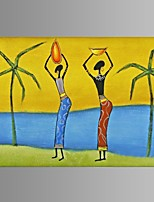 Hand-painted Abstract African women Oil Painting Restaurant Decor with Stretched Frame