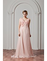 Formal Evening Dress A-line V-neck Sweep / Brush Train Chiffon with Flower(s) / Pleats