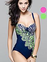 Venus queen Plus Size Women's Halter Bikini / One-piece,Boho Nylon / Spandex Fuchsia / Green