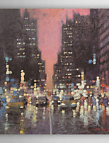 Hand Painted Oil Painting Landscape Midnight City with Stretched Frame 7 Wall Arts®