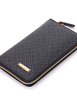 Fine Men's Genuine Leather Clutch Bag Brown/Gray Wallets