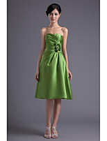 Tea-length Satin Bridesmaid Dress-Clover A-line Sweetheart