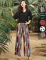 VERRAGEE® Women's High Rise Wide Leg Pink / Red / Green / White Casual Pants-L129