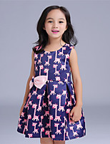Girl's Pink Dress,Floral Cotton / Polyester Summer / Spring