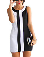 Women's Simple / Street chic Patchwork Sheath Dress,Round Neck Above Knee Polyester