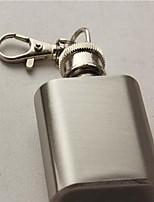 Vintage Miniature 1 Ounce Stainless  Steel Liquor Flask Key Chain