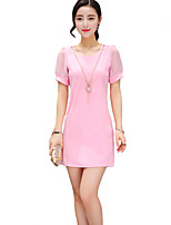 Women's Street chic Solid Sheath Dress,Round Neck Above Knee Polyester