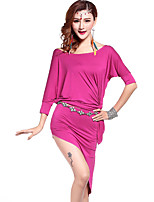 Belly Dance Outfits Women's Training Modal Side-Draped 3 Pieces Fuchsia / Green / Purple
