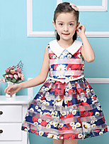 Girl's Cotton Summer Lapel Flowers  Princess  Jumper Skirt  Lace Dress