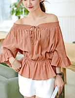 Women's Solid White / Brown Loose Fashion Blouse,Street chic/Casual Strapless Boat Ruffle Neck Short Sleeve Cotton/Linen