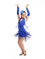 Latin Dance Dresses Children's Performance Spandex / Polyester Sequins Tassel(s) Dance Costumes with Earrings