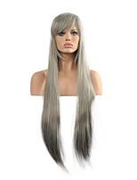 perruque cosplay longue perruque synthétique de cheveux de ruban droit.
