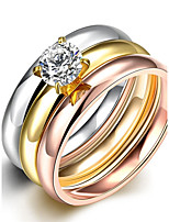 lureme® Vintage Classic Tricolor Stainless Steel with A Zircon Womens Girls Polished Rings 3 Pcs A Set