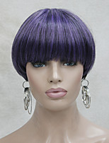 Fashion Center Dot Skin Top Light Purple Mix Black Bob Mushroom Style wig with Bangs