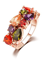 Women's Gold Korean Cubic Zirconia Multicolored Rhinestone Luxury Ring