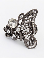 Elegant Vintage New Style Silver Color Black Simulated Diamond Butterfly Ring Women Animal Jewelry
