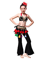 Belly Dance Outfits Children's Performance American tribal style  Modal /Beading / Coins / Tassel(s) 3 Pieces Black