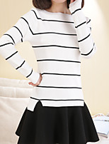 Women's Striped White / Black Pullover , Casual Long Sleeve