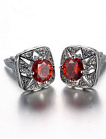 Men's Fashion Red Crystal Silver Alloy French Shirt Cufflinks (1-Pair)