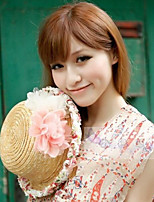 Women Cute Casual Spring Summer UV Lace Floral Beach Straw  Holiday Hat
