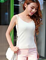 Women's Solid White Vest,Sexy / Street chic Sleeveless