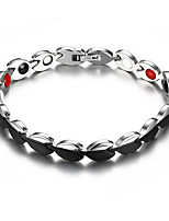 Women's Jewelry Health Care Silver & Black Titanium Steel Magnetic Bracelet