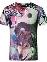 Men's Chinese Style 3D Wolf Print V Collar Slim Fit Short Sleeve T-Shirt, Cotton/Casual / Plus Sizes