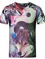 Masculino Camiseta Algodão / Elastano Estampado Manga Curta Casual / Tamanhos Grandes-Roxo