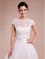Women's Wrap Shrugs Short Sleeve Lace Ivory Wedding / Party/Evening Scoop Lace