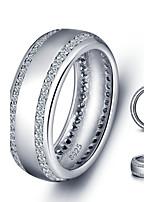Women Fashion Sliver Luxury Zircon Rings Vintage Platinum Plated Ring