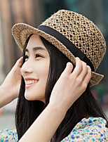 Unisex Men And Women Straw Summer Hollow Out Linen Jazz Beach Hat